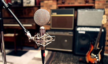 OPR ribbon microphone and guitars ampps in the recording room